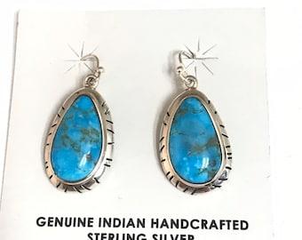 Native American Handmade Sterling Silver Turquoise Dangle Earrings