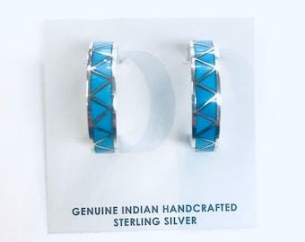 Native American Zuni handmade sterling silver and turquoise half hoop earrings