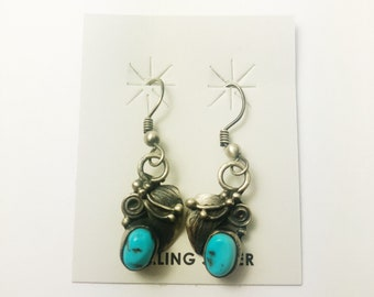 Native American Navajo Handmade Sterling Silver Kingman Turquoise Earrings
