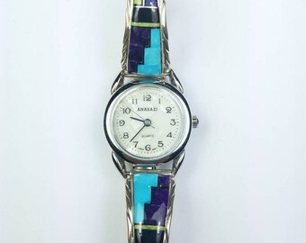 Native American Navajo handmade Sterling Silver inlay Turquoise Sugilite Gaspeite Onyx Lapis stone watch