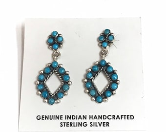 Native American Navajo Handmade Sterling Silver Turquoise Dangle Earrings