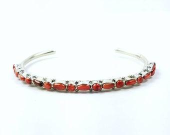 Native American Navajo handmade Sterling Silver Coral bracelet