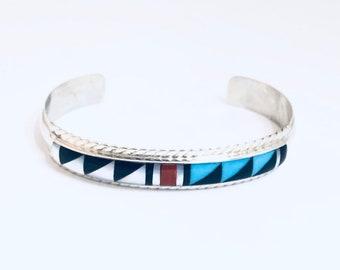 Native American Handmade Zuni Inlay Sterling Silver Multi Stone Cuff Bracelet