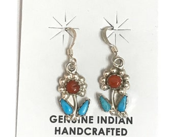 Native American Zuni Handmade Sterling Silver Turquoise Coral Flower Dangle Earrings