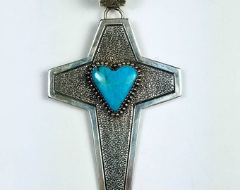 Native American Navajo handmade Sterling Silver Turquoise cross pendant