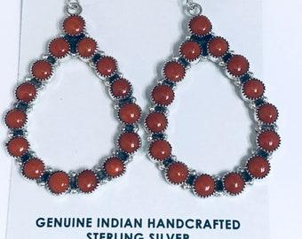 Beautiful Native American Navajo Handmade Sterling Silver High Grade Coral Dangle Earrings