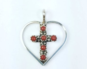 Native American Zuni handmade Sterling Silver Coral petit point cross pendant