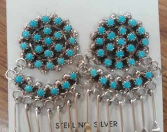 Native American Zuni Handmade Sterling Silver Cluster Turquoise Earrings