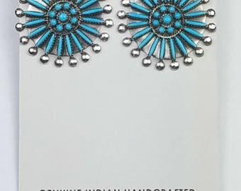 Native American Zuni handmade Sterling Silver Sleeping Beauty Turquoise needle point post earrings