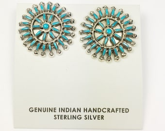 Native American Zuni Needle point Handmade Sterling Silver Sleeping Beauty Earrings