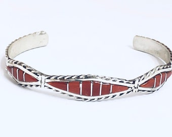 Native American Handmade Zuni Inlay Sterling Silver and Coral Cuff Bracelet