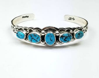 Native American Navajo handmade Sterling Silver Kingman Turquoise children's cuff bracelet