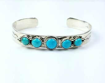 Native American Navajo handmade Sterling Silver Sleeping Beauty Turquoise bracelet