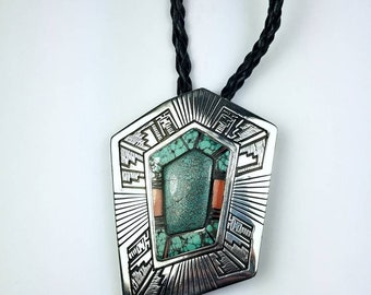 Native American Navajo handmade Sterling Silver inlay Turquoise Onyx Coral stone bolo tie