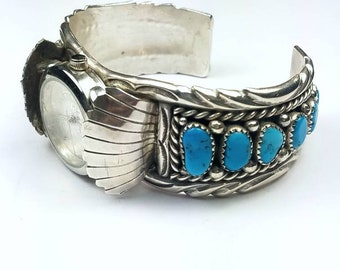 Native American Navajo handmade Sterling Silver Sleeping Beauty Turquoise stone watch cuff