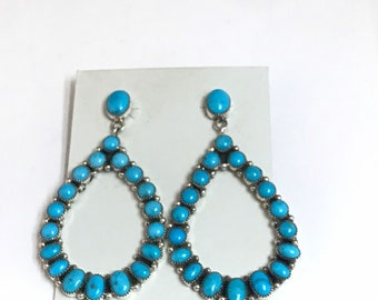 Stunning Native American Navajo Handmade Sterling Silver Sleeping Beauty Turquoise Dangle Earrings