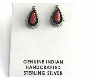 Native American Handmade Navajo Sterling Silver Coral Stud Earrings