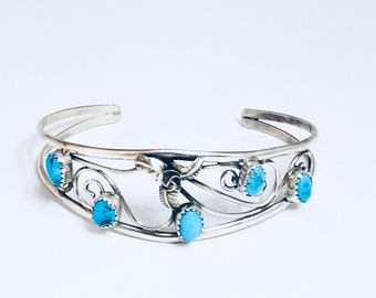 Native American Navajo Handmade Sterling Silver and Turquoise Cuff Bracelet