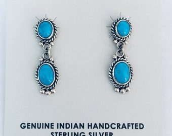 Native American Navajo handmade sterling silver and sleeping beauty turquoise earrings