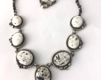 Vintage style Native AmericanNavajo Handmade Sterling Silver and White Buffalo mineral necklace