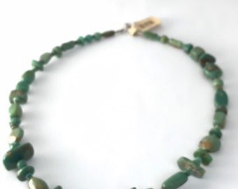Native American Navajo Hand Cut Turquoise Bead Necklace