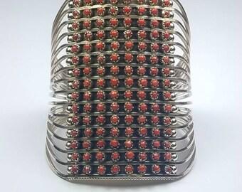 Native American Zuni handmade Sterling Silver petit point Mediterranean Coral cuff bracelet by Jason Livingston
