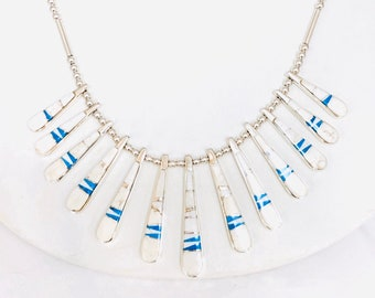 Native American Navajo handmade White Buffalo turquoise finger necklace set