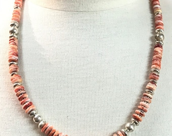 native American Handmade Navajo Sterling Silver and Spiny Oyster Shell Necklace