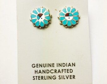 Native American Navajo Handmade Sterling Silver Multicolor Earrings