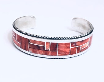 Native American Handmade Zuni Inlay Sterling Silver and Spiny Oyster Shell Cuff Bracelet