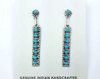 Native American Zuni handmade Sterling Silver Turquoise stone petit point stud earrings