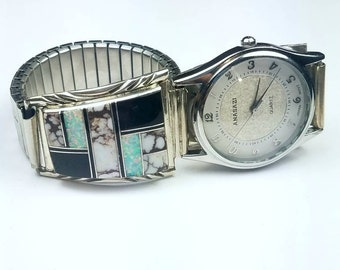 Native American Navajo handmade Sterling Silver inlay Wild Horse Jasper Onyx Opal stone watch