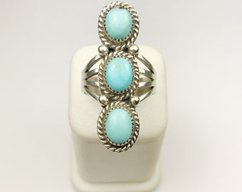Native American Navajo Handmade Sterling Silver Long Mountain Turquoise