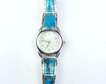 Native American Navajo handmade Sterling Silver inlay Turquoise stone watch