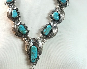 1980's Estate piece Native American Handmade Navajo Turquoise Sterling Silver Bead Necklace