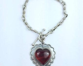 Native American Navajo handmade Sterling Silver Agate link bracelet