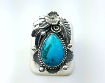 Native American Navajo handmade heavy gauge Sterling Silver Turquoise ring