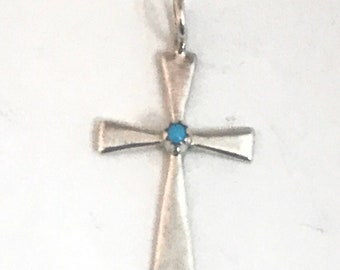 Native American Navajo Handmade sterling Silver Turquoise Cross Pendant