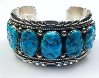 Vintage 1970's Robert Leekya Native American Zuni handmade Sterling Silver natural Kingman Turquoise cuff braclet
