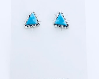 Native American Navajo handmade sterling silver and turquoise post stud earrings