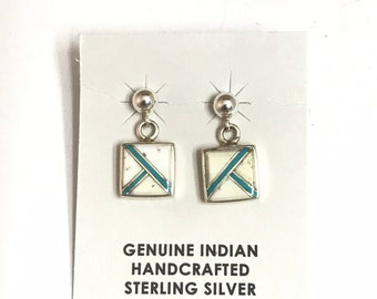 Native American Navajo Handmade Sterling Silver Turquoise White Buffalo Dangle Earrings