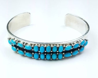 Native American Navajo handmade Sterling Silver Sleeping Beauty Turquoise bracelet by Paul Livingston