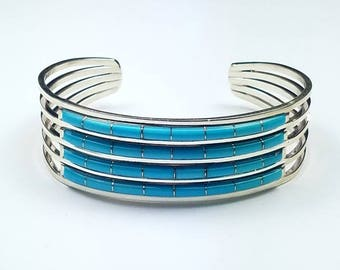Native American Zuni handmade Sterling Silver channel inlay natural high grade Sleeping Beauty Turquoise cuff bracelet