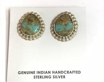 Native American Navajo Handmade Sterling Silver Turquoise Stud Earrings