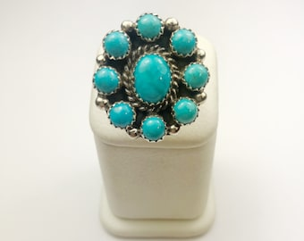 Native American Navajo Handmade Sterling Silver San Bernardino Turquoise Ring