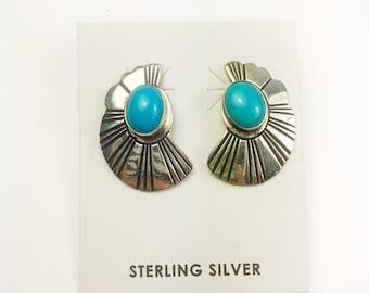 Native American Navajo Handmade Sterling Silver Cerillos Earrings