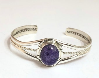 Native American Navajo Handmade Sterling Silver and Charoite Cuff Bracelet