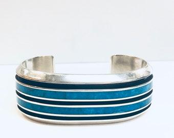 Larry Loretto Zuni Handmade Sterling Silver Turquoise inlay cuff bracelet