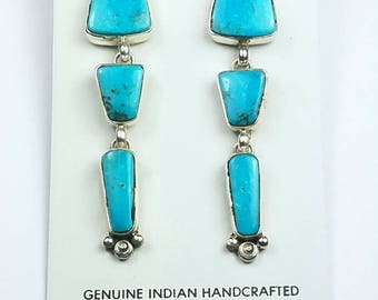 Native American Navajo handmade Sterling Silver Kingman Turquoise post earrings