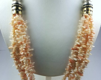 Tommy Singer Native American Navajo handmade Sterling Silver Coral necklace